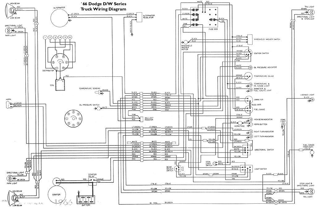 66wire jpg · wiring diagram for 1966 dodge light duty pickups