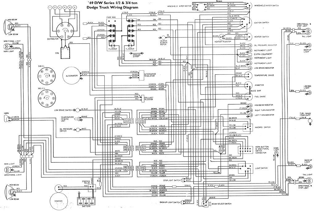69wire jpg � wiring diagram for 1969 dodge d or w-series 1/2 & 3/4 ton  pickups
