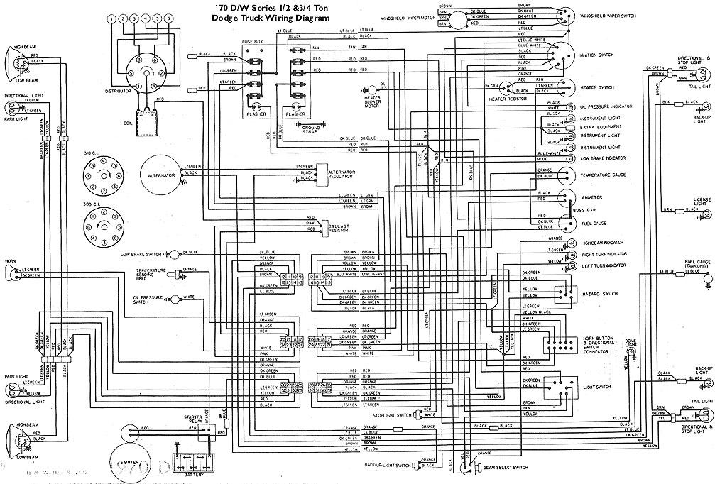 electricals 61 71 dodge truck website 70wire jpg · wiring diagram for 1970 dodge d or w series 1 2 3 4 ton pickups